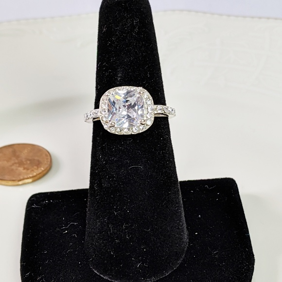 Jewelry - 🌜3 for $25🌛 Cushion Cut CZ Silver Tone Ring